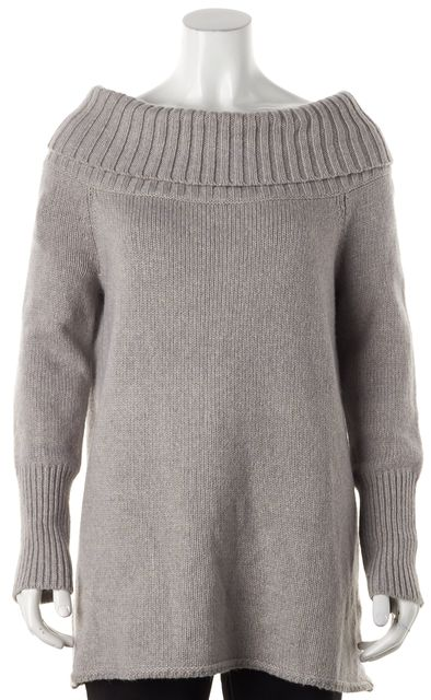 REBECCA MINKOFF Gray Erid Chunky Knit Cowl Neck Sweater