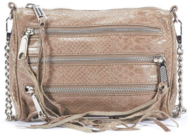 REBECCA MINKOFF Gray Crocodile Texture Mini 5 Zip Leather Crossbody