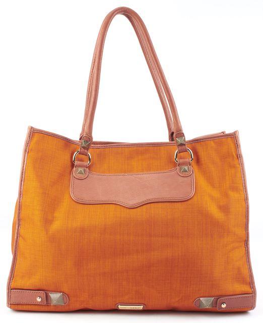 REBECCA MINKOFF Pumpkin Orange Brown Leather trim Gold tone Hardware Tote