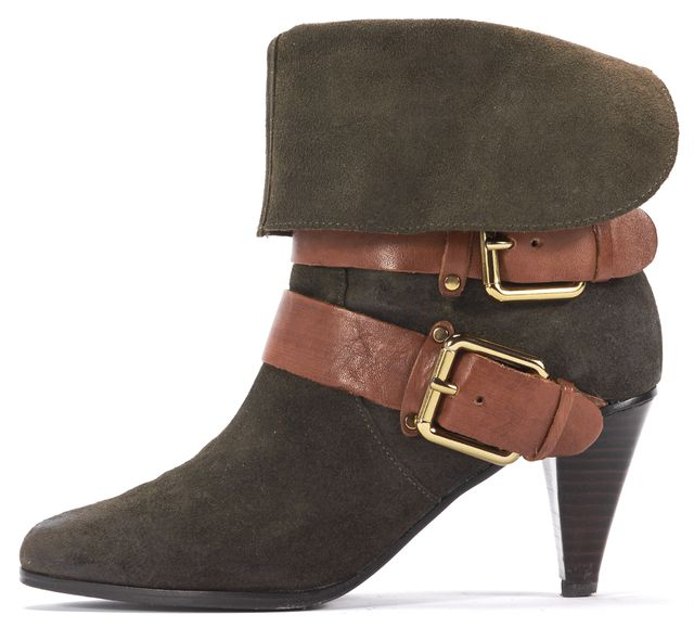 REBECCA MINKOFF Olive Green Suede Brown Strap Heel Ankle Boots