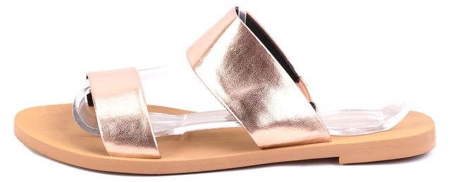 REBECCA MINKOFF Rose Gold Metallic Two-Strap Leather Sandals