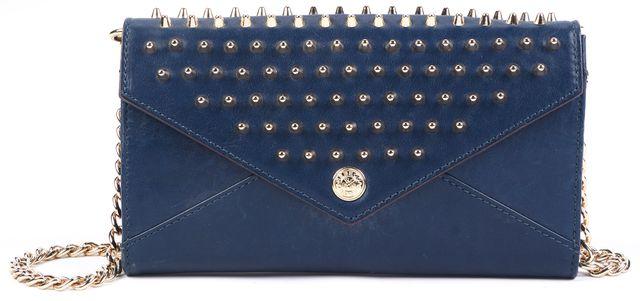 REBECCA MINKOFF Navy Blue Gold Studded Detail Hardware Leather Crossbody Handbag