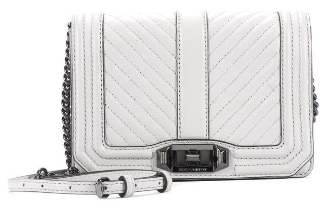 REBECCA MINKOFF Light Gray Leather Chain Strap Mini Crossbody Bag