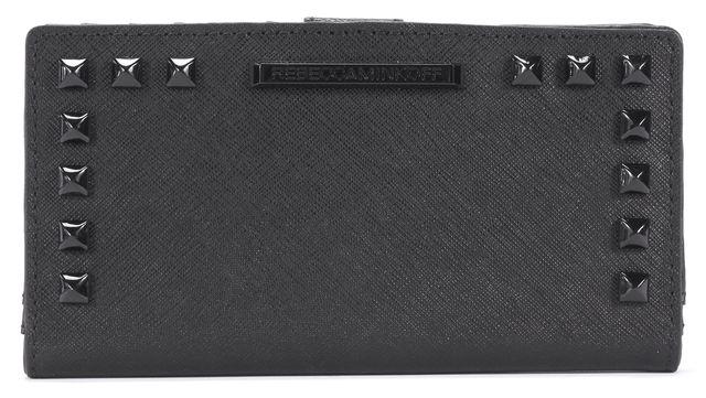 REBECCA MINKOFF Black Leather Black Tone Branded Studded Wallet