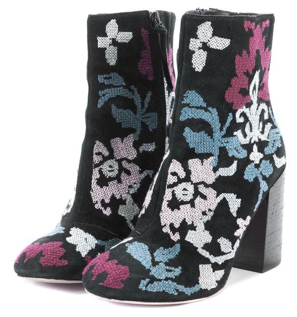 REBECCA MINKOFF Multi-color Embroidered Suede Pump Heels