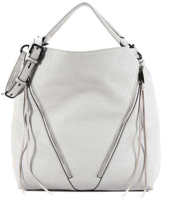 REBECCA MINKOFF Light Gray Asymmetric Zip Moto Hobo Bag