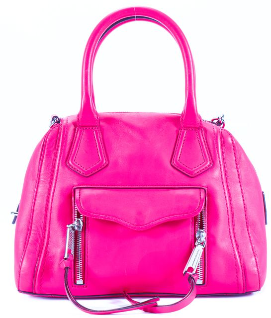 REBECCA MINKOFF Hot Pink Silver Tone Branded hardware Leather Satchel Crossbody