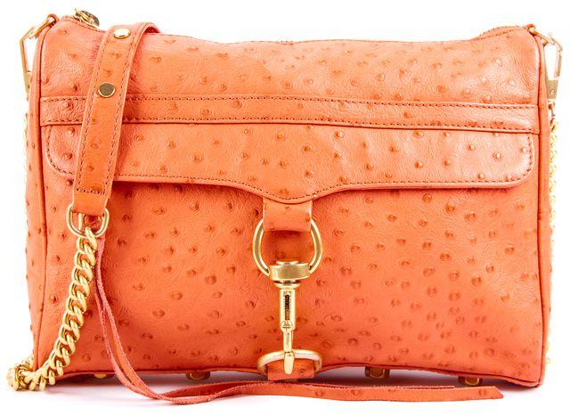 REBECCA MINKOFF Orange Ostrich Leather MAC Chain Link Clutch Crossbody