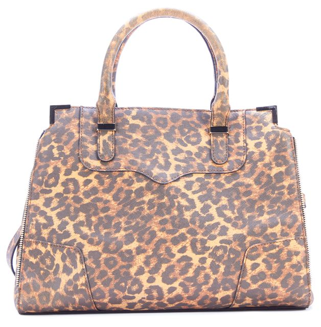 REBECCA MINKOFF Almond Leather Leopard Printed Amorous Satchel Bag