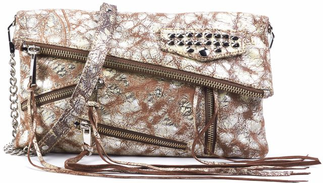 REBECCA MINKOFF Silver Cracked Leather Crossbody