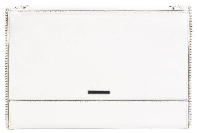REBECCA MINKOFF Ivory Leather Studded Braided Zipper Trim Envelope Clutch