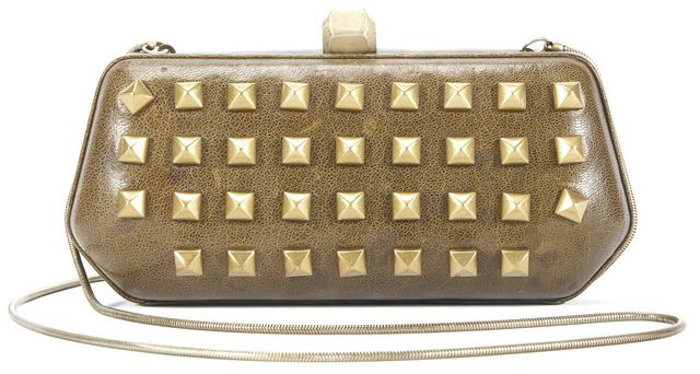 REBECCA MINKOFF Green Gold Stud Embellished Leather Crossbody Clutch