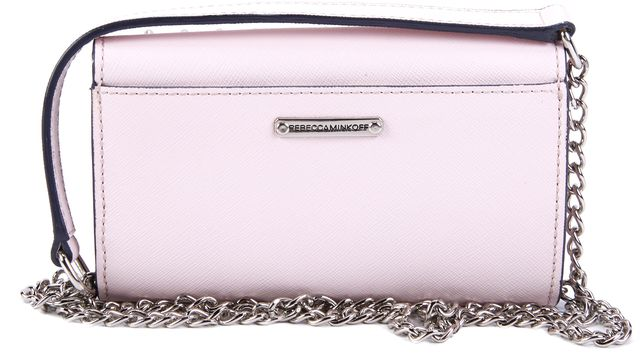 REBECCA MINKOFF Pale Pink Stud Embellished Mini Wallet with Chain Strap