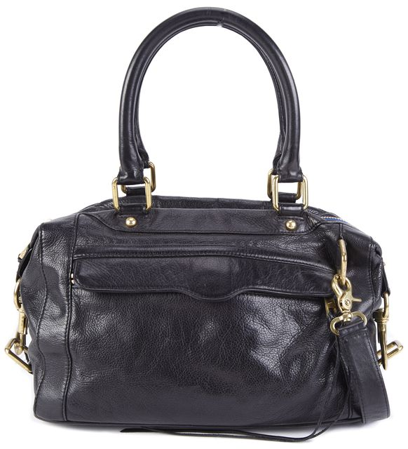 REBECCA MINKOFF Black Leather Bronze Hardware Satchel