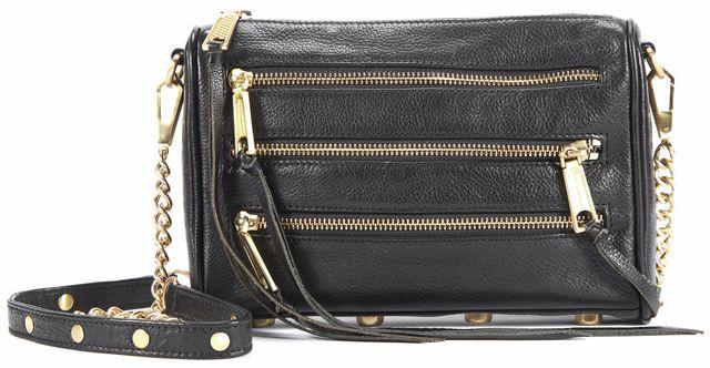 REBECCA MINKOFF Black Leather Fringe Zipper Crossbody