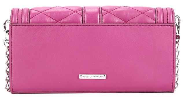 REBECCA MINKOFF Pink Silver Tone Hardware Love Quilted Leather Crossbody