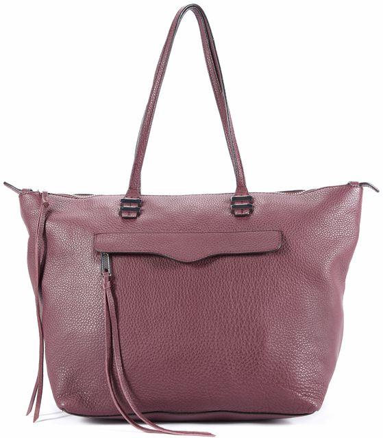 REBECCA MINKOFF Burgundy Pebbled Leather Tote Handbag