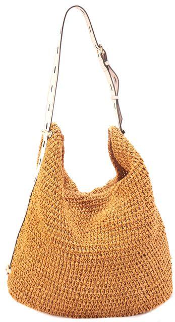 REBECCA MINKOFF Mustard Yellow Paper Woven Shoulder Hobo Bag