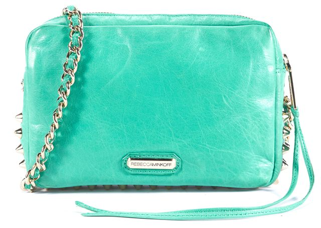 REBECCA MINKOFF Seafoam Green Gold Rock-Stud Leather Crossbody