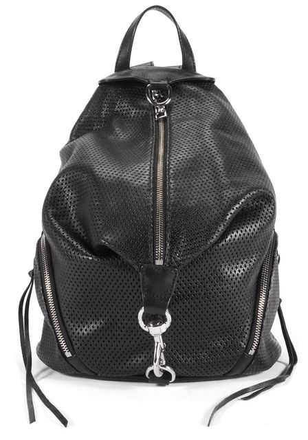 REBECCA MINKOFF Black Perforated Leather Julian Backpack