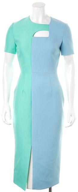 ROKSANDA Surf Blue Mint Green Colorblock Arley Midi Sheath Dress
