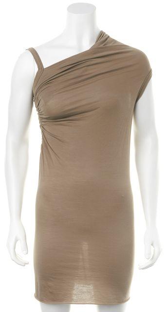 RICK OWENS LILLIES Beige Asymmetrical Sleeve Draped Sheath Dress