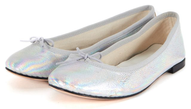 REPETTO Metallic Silver Iridescent Leather Ballet Flats