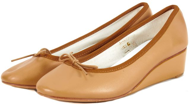 REPETTO NWB Coquille Brown Leather Ballet Wedges