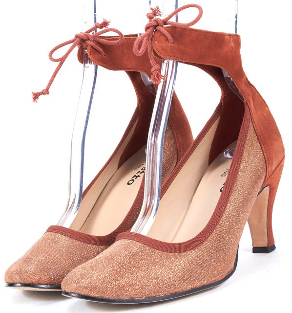 REPETTO Burnt Orange Glitter Suede Lace-Up Heels