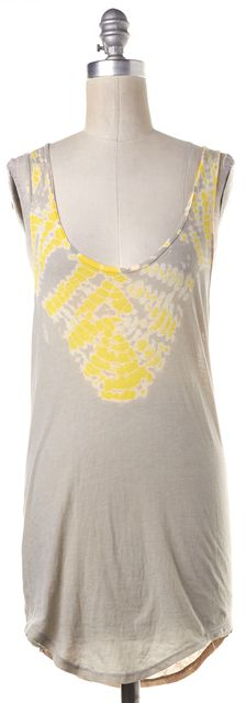 RAQUEL ALLEGRA Beige Yellow Abstract Print Asymmetrical Tank Top