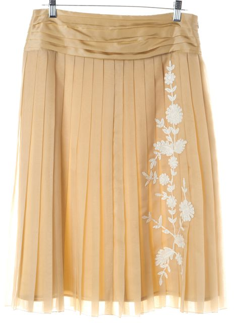 ROBERT RODRIGUEZ Beige Silk Floral Print Pleated Skirt