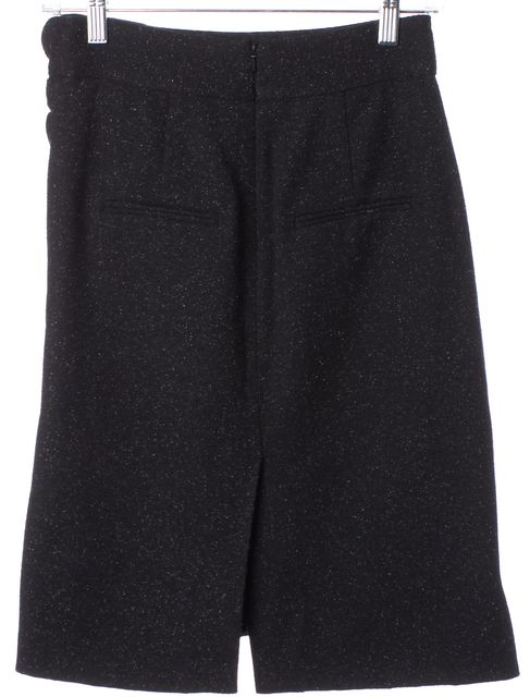 ROBERT RODRIGUEZ Black Speckled Knit Ruched Straight Skirt