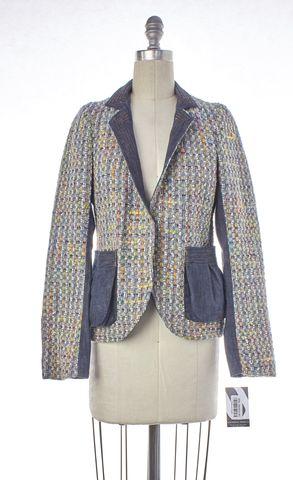REBECCA TAYLOR Blue Multi Tweed Single Button Basic Jacket