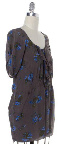 REBECCA TAYLOR Gray Floral Print Silk Shift Dress
