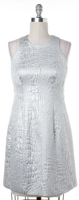 REBECCA TAYLOR Silver Metallic Textured Print Sleeveless Dress