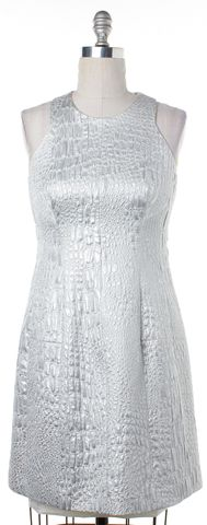 REBECCA TAYLOR Silver Metallic Textured Print Sleeveless Dress