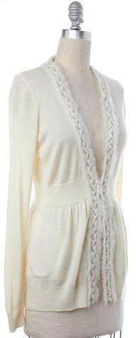 REBECCA TAYLOR Ivory Knit Braided Trim Long Sleeve Cardigan