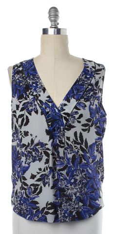 REBECCA TAYLOR Blue Black Floral Silk Sleeveless Blouse