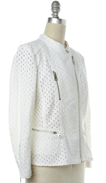 REBECCA TAYLOR White Perforated Moto Style Jacket