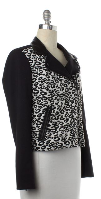 REBECCA TAYLOR Black White Leopard Zip Up Moto Jacket