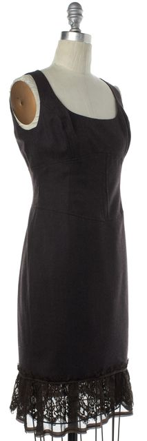 REBECCA TAYLOR Brown Floral Lace Wool Sleeveless Shift Dress
