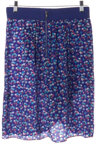 REBECCA TAYLOR Blue Floral Printed Elastic Waistband Silk Skirt
