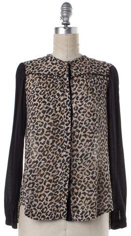 REBECCA TAYLOR Black Beige Leopard Print Cardigan