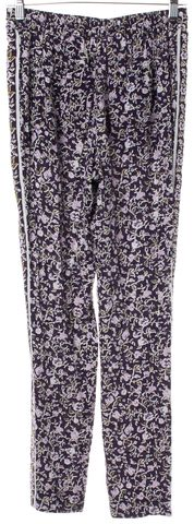 REBECCA TAYLOR Purple Floral Trousers Pants