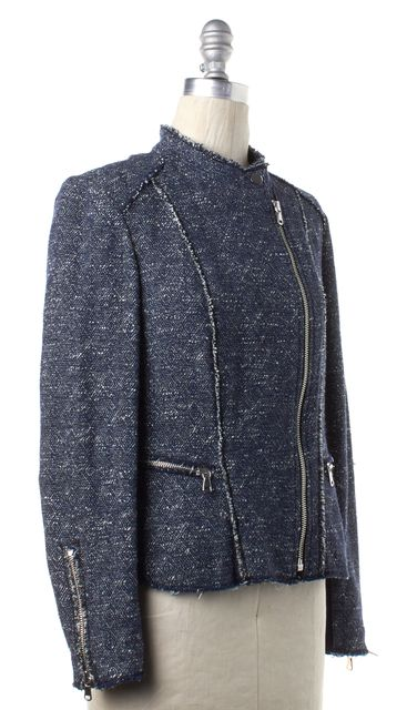 REBECCA TAYLOR Blue White Knit Zip Up Moto Jacket