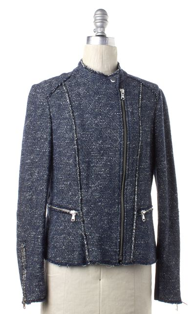 REBECCA TAYLOR Blue White Knit Zip Up Moto Jacket