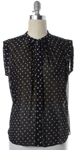 REBECCA TAYLOR Black Ivory Polka Dot Sheer Button Down Shirt