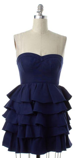 REBECCA TAYLOR Blue Tiered Corset Dress