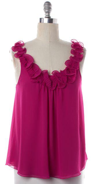 REBECCA TAYLOR Bright Pink Ruffle Neckline Top