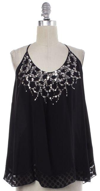 REBECCA TAYLOR Black Silver Sequin Embellished Silk Top